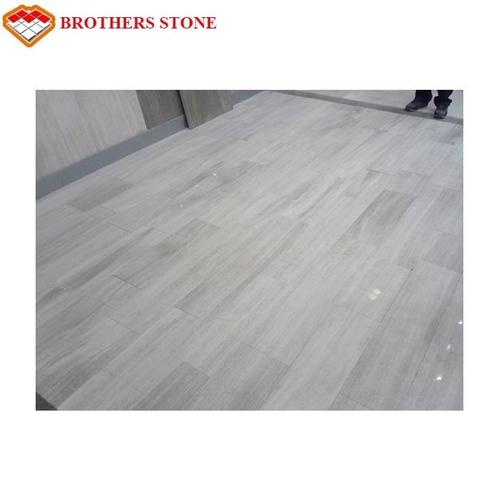 Chenille White Wood Marble Tile , Polished Marble Floor Tile Smooth Looking