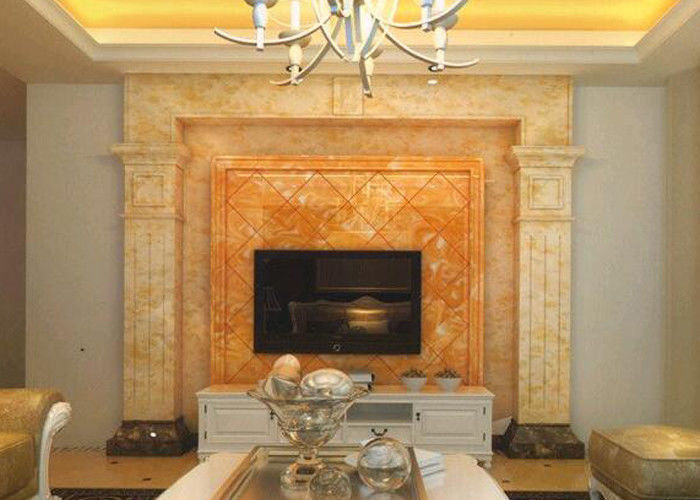 Fashionable Design Honey Onyx Slab , Orange Onyx Marble For TV Background